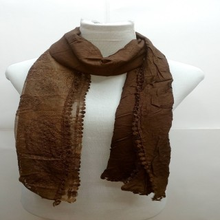 Premium Ari Diamond Lace Stole- Dark Brown